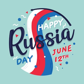 Gelukkig rusland dag belettering met vlag