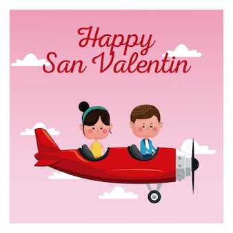 Gelukkig san-valentijnskaartpaar die rode vliegtuig roze hemel vliegen