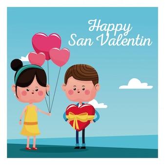 Gelukkig san valentine kaart meisje tak ballonnen en jongen met rood hart