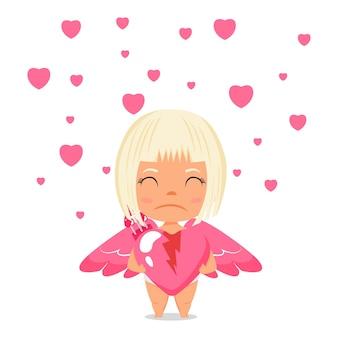Gelukkig schattig cupido jongen meisje karakter gebroken liefde hart vorm te houden