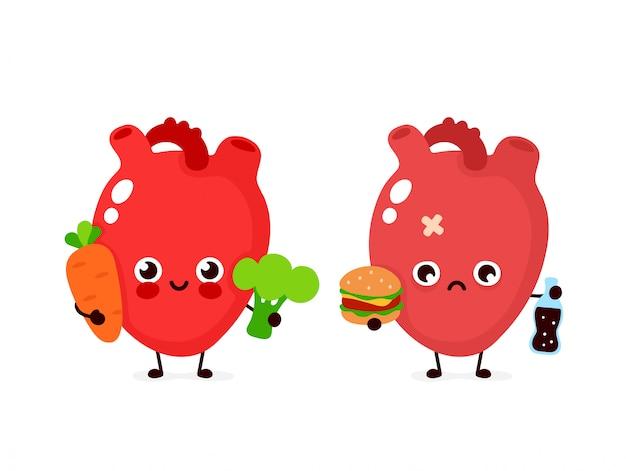 Gelukkig schattig glimlachend gezond met broccoli en wortel en triest ziek hart met fles frisdrank en hamburger. moderne stijl cartoon karakter illustratie pictogram ontwerp. gezond eten, hart concept