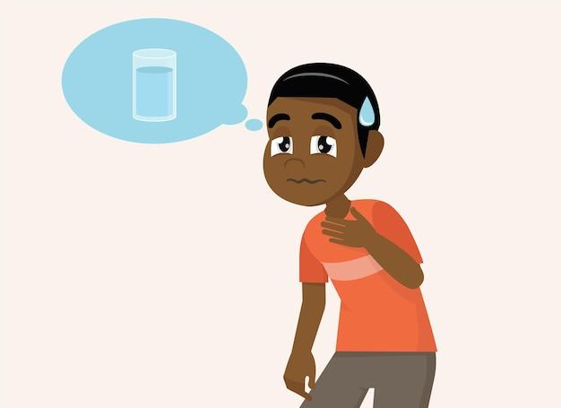 Gelukkig schattig kind afrikaanse jongen voelt zo dorstig