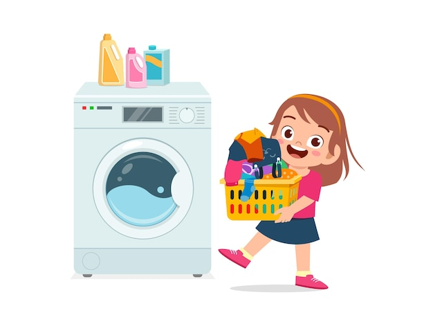 Gelukkig schattig kind de was doen met de wasmachine