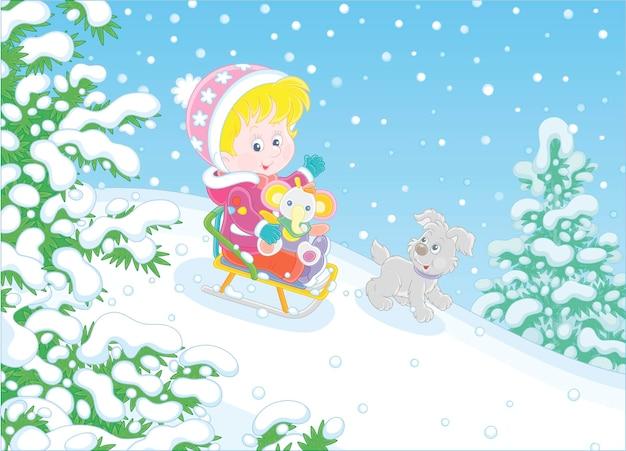 Gelukkig schattig kind en een vrolijk klein puppy die vrolijk van illustratie naar beneden glijden