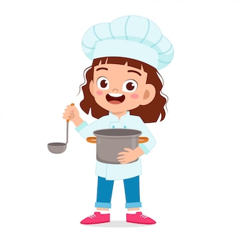 Gelukkig schattig kind meisje in chef-kok kostuum