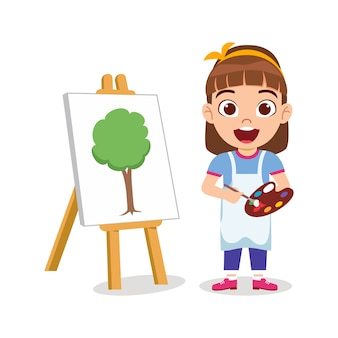 Gelukkig schattig kind meisje tekening prachtige groene boom schilderij met vrolijke uitdrukking