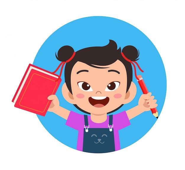 Gelukkig schattig klein kind school meisje gelezen boek