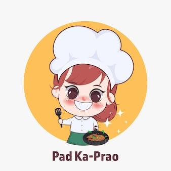 Gelukkig schattig meisje chef-kok koken thais eten cartoon kunst illustratie