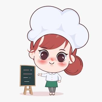 Gelukkig schattig meisje chef-kok presenteren menu schoolbord cartoon kunst illustratie