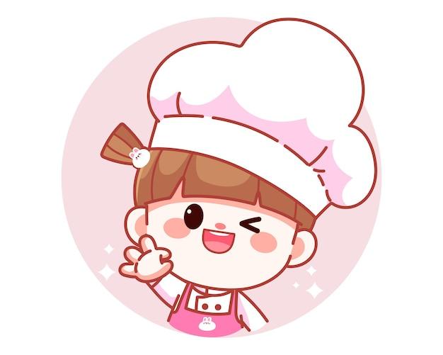 Gelukkig schattig meisje chef-kok weergegeven: ok teken met haar hand banner logo cartoon kunst illustratie