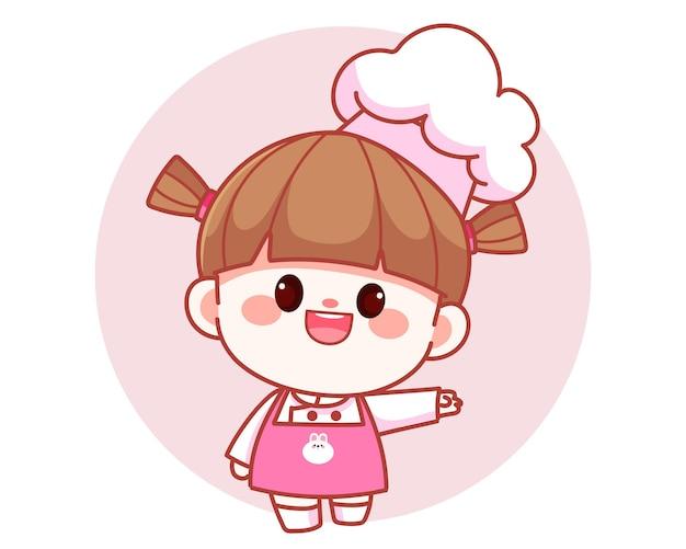 Gelukkig schattig meisje chef-kok weergegeven: welkom bord met haar hand banner logo cartoon kunst illustratie