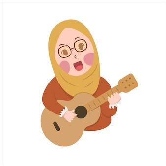 Gelukkig schattig meisje hijab playi gitaar en zingen cartoon platte ontwerp vectorillustratie, kleine hijab schattig oefen gitaar melodie met glimlach en plezier