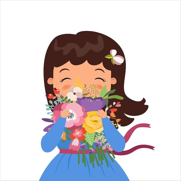 Gelukkig schattig meisje met boeket bloemen