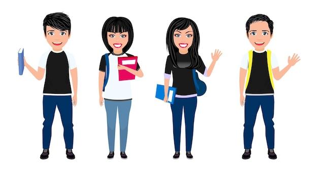 Gelukkig schattig mooi slim universiteitsstudent jongens en meisjes karakter met vrolijke uitdrukking met rugzak, boeken, bestanden en zwaaien