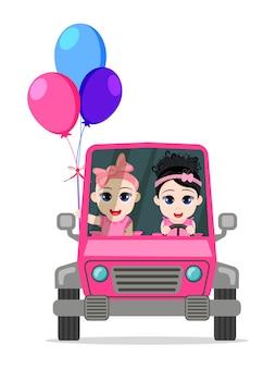 Gelukkig schattige baby meisjes auto rijden met ballonnen geïsoleerd op een witte achtergrond