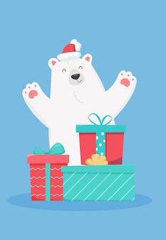 Gelukkig schattige beer met geschenken.