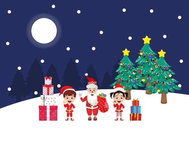 Gelukkig schattige jongen jongen en meisje en santa claus zwaaien en vrolijke charisma's vieren