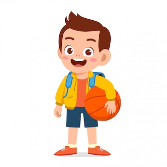 Gelukkig schattige jongen jongen klaar om naar school te gaan