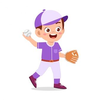 Gelukkig schattige jongen jongen spelen trein honkbal