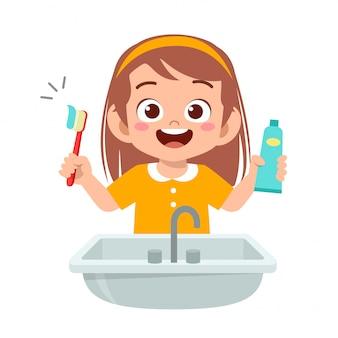 Gelukkig schattige jongen meisje borstel schone tanden