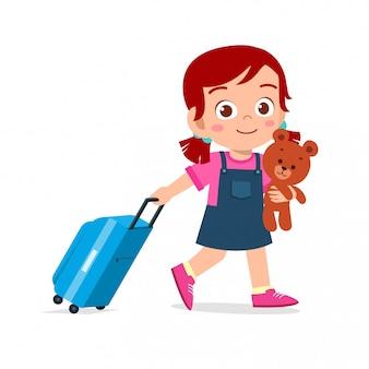 Gelukkig schattige jongen meisje pull tas met teddy
