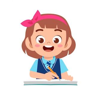 Gelukkig schattige jongen meisje studie met glimlach
