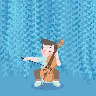Gelukkig schattige jongen spelen muziek cello vectorillustratie