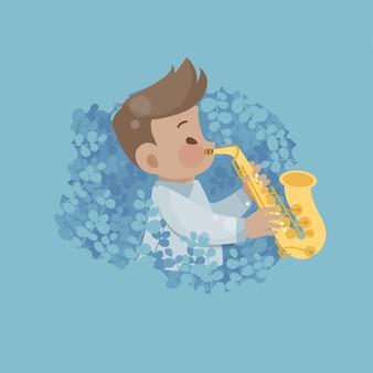 Gelukkig schattige jongen spelen muziek saxofoon vectorillustratie