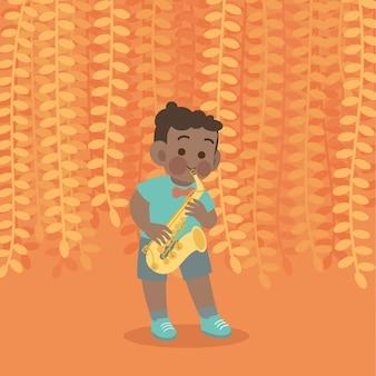 Gelukkig schattige jongen spelen saxofoon muziek vectorillustratie