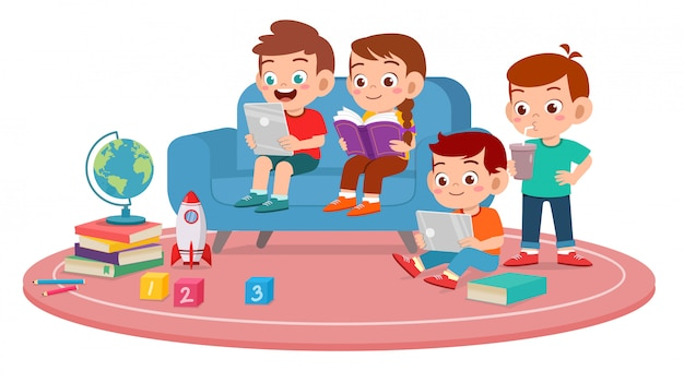Gelukkig schattige kinderen jongen en meisje gebruik smartphone