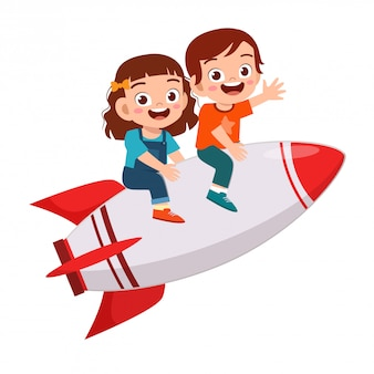 Gelukkig schattige kinderen jongen en meisje rijden raket
