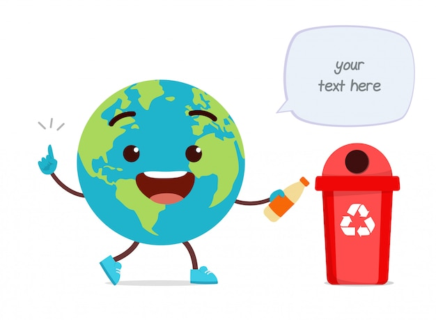Gelukkig schattige kleine aarde mascotte gooien afval