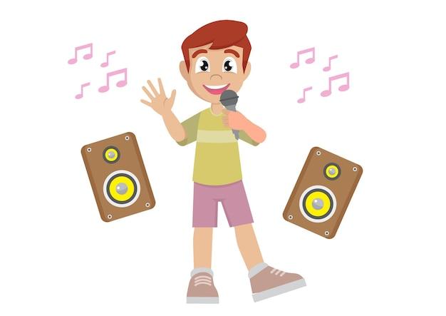 Gelukkig schattige kleine jongen zingt een lied