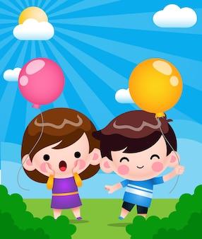 Gelukkig schattige kleine kinderen spelen ballon in de tuin cartoon afbeelding