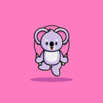 Gelukkig schattige koala speelt springtouw
