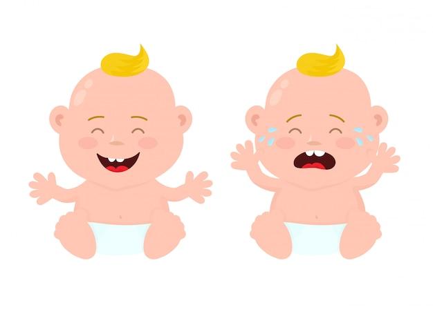 Gelukkig schattige lachende lachende en verdrietig huilende kleine baby kind jongen.