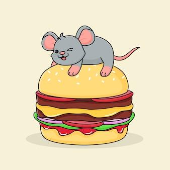 Gelukkig schattige muis bovenop hamburger