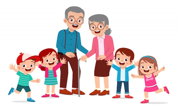Gelukkig schattige oude man en vrouw met familie samen