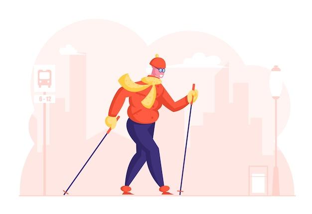 Gelukkig senior dame wandelen opleiding op straat in de stad