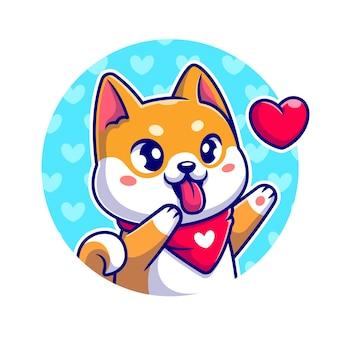 Gelukkig shiba inu hond met liefde cartoon vectorillustratie pictogram. dierlijke natuur pictogram concept geïsoleerd premium vector. platte cartoonstijl