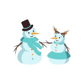 Gelukkig sneeuwman en sneeuw vrouw met gezicht, hoed, wortel en sjaal. vrolijke decoraties voor de feestdagen voor nieuwjaar en kerstmis. winter en feestelijk element