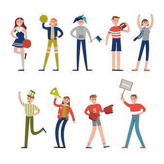 Gelukkig sportfans en supporters karakters. ondersteuning voor illustraties van honkbalteams