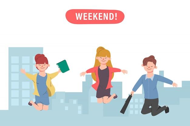 Gelukkig springen kantoormedewerkers succesvolle platte vector illustratie vrolijke zakelijke werknemers stripfiguren set.