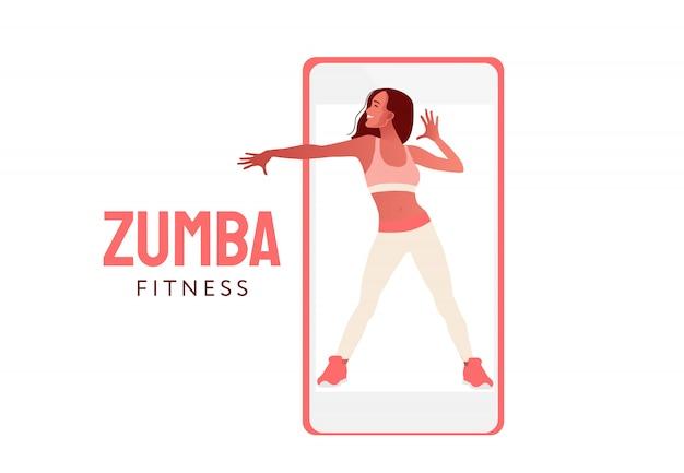 Gelukkig springend dansend meisje. sporttraining op afstand. vrouw dansen op telefoon scherm illustratie. aerobic fitness dans.