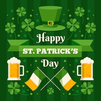 Gelukkig st. patrick's day illustratie met bier en hoed