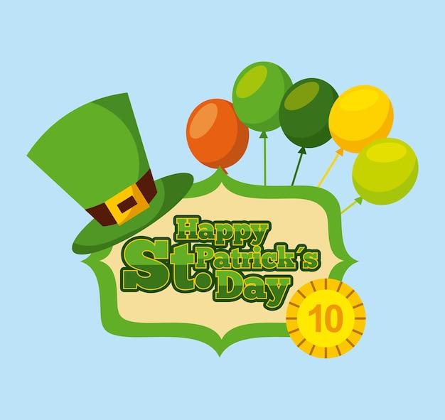 Gelukkig st patricks dag gouden munt hoed en ballonnen label
