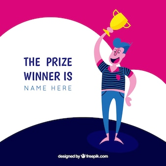 Gelukkig stripfiguur winnen van een prijs