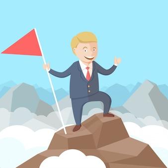 Gelukkig succesvolle zakenman met vlag in zijn hand op de top van de berg. flat vector illustratie