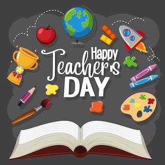 Gelukkig teacher's day-bord met set stationaire elementen