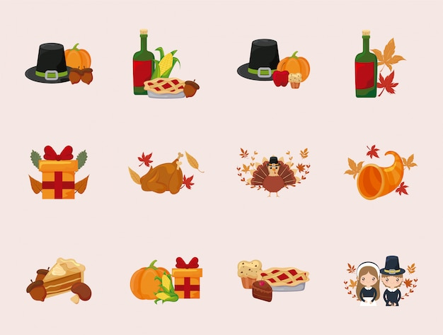 Gelukkig thanksgiving day pictogram vastgesteld vectorontwerp
